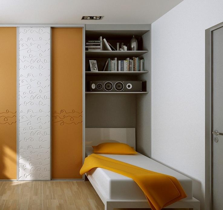 Półki nad łóżkiem w pokoju młodzieżowym