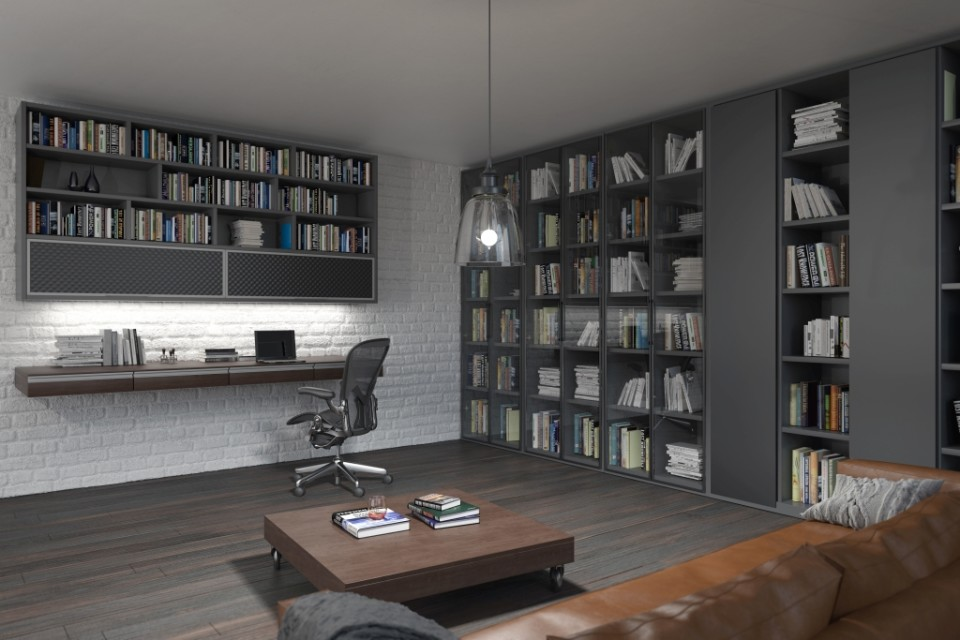 domowe biuro z regalem w salonie
