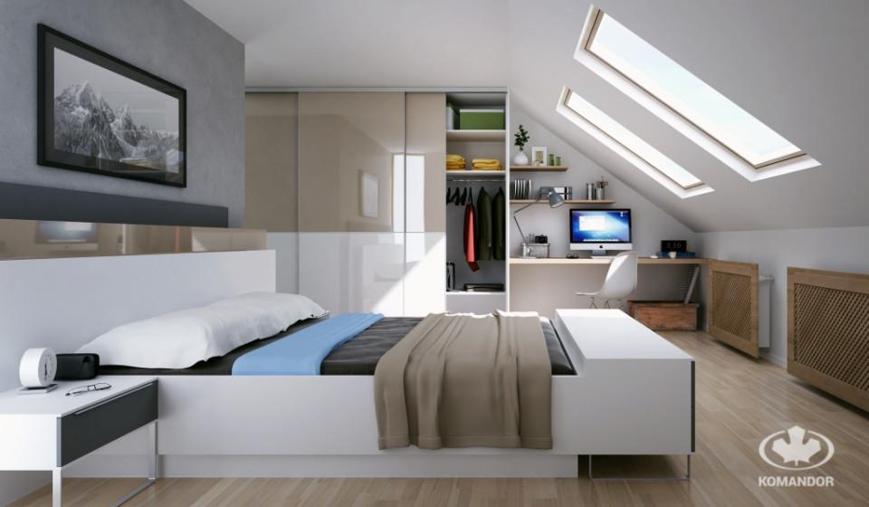 przytulna sypialnia z łóżkiem komandor