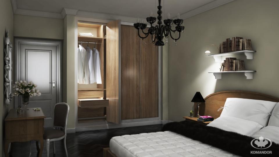przytulna i stylowa sypialnia z szafą komandor
