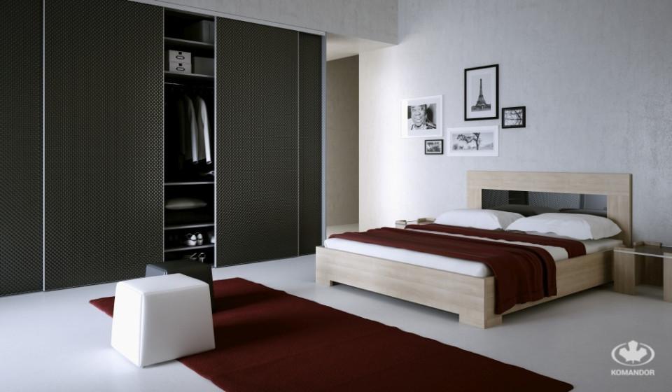aranżacja sypialni Komandor z szafą i łóżkiem