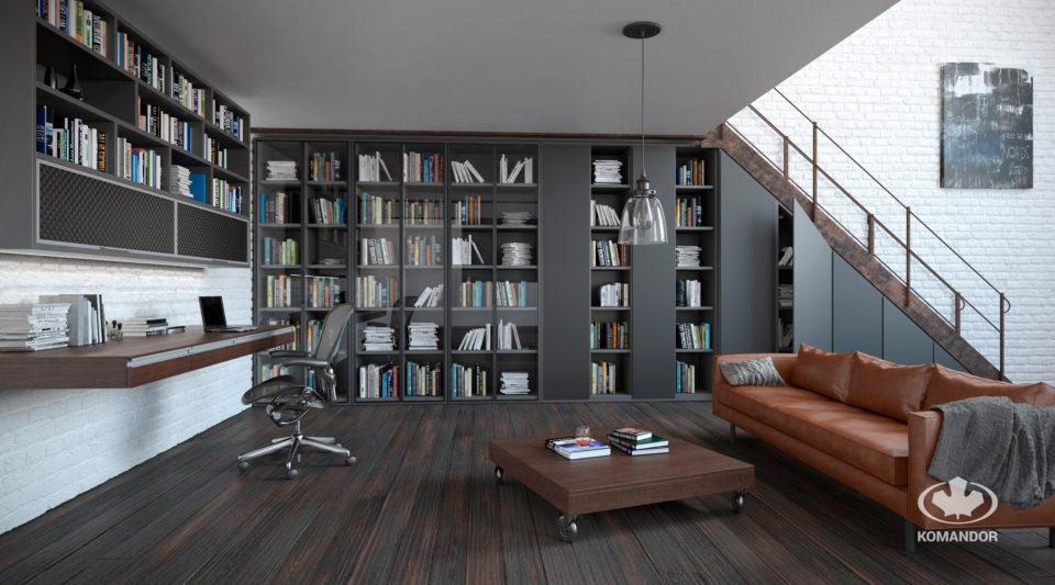 nowoczesna biblioteczka domowa z drzwiami uchylnymi