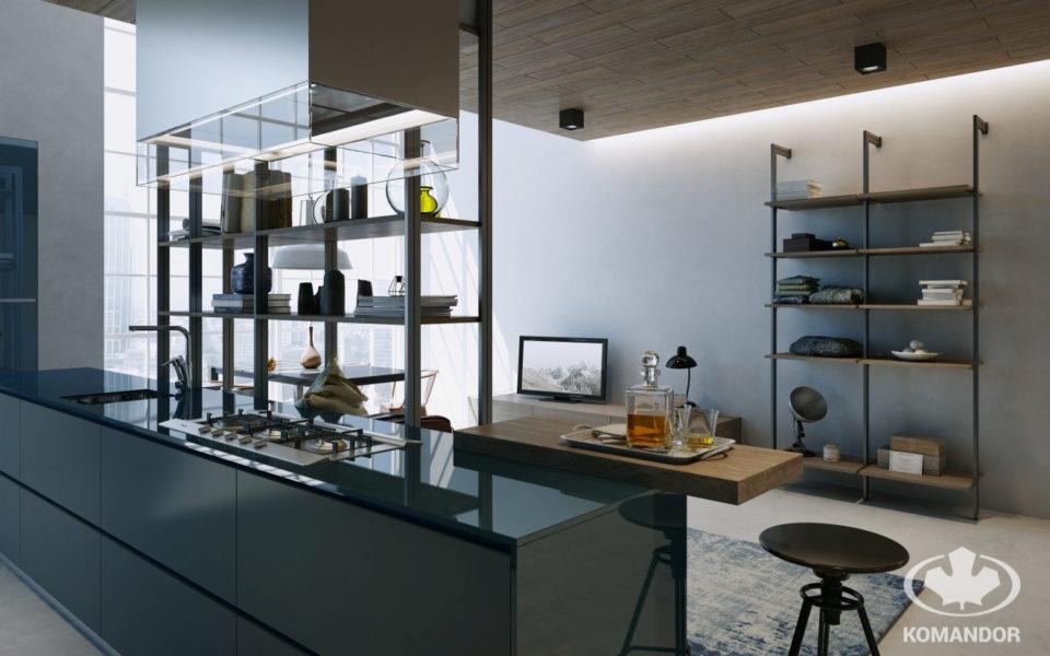 Komandor - system Orto w formie regału oddzielającego kuchnie od salonu i jako regał w pokoju dziennym