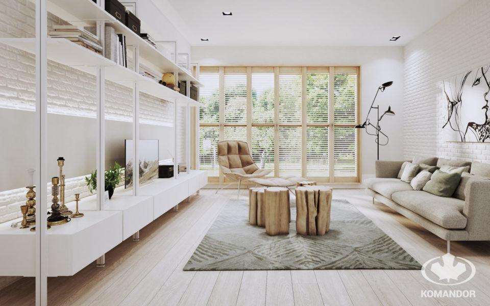 Biały system Orto jako regał w przestrzeni salonu