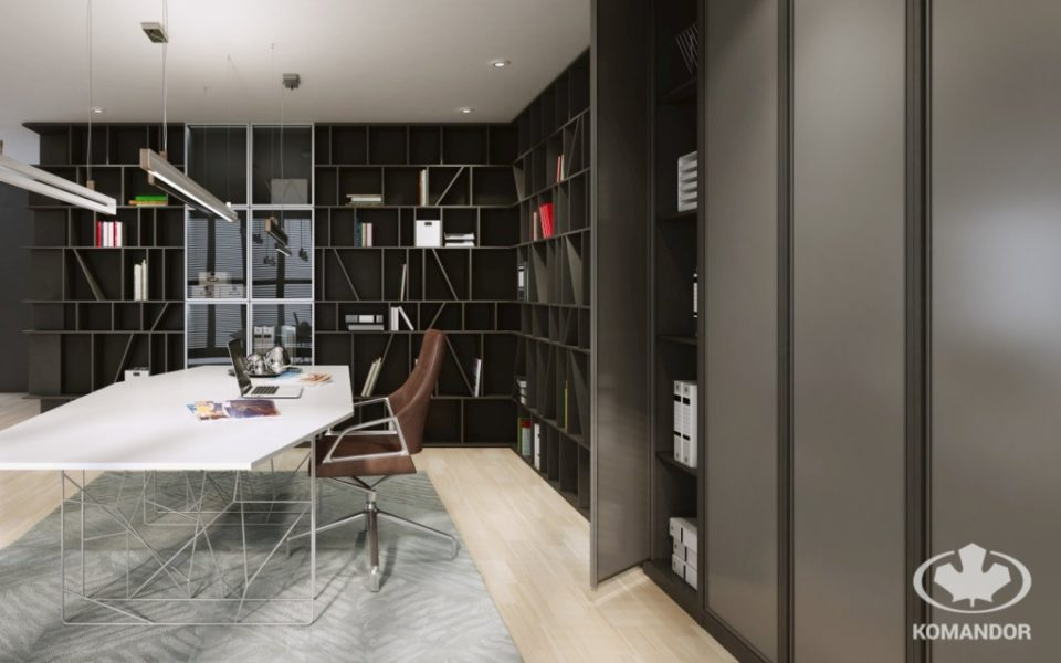 Nowoczesna szafa biurowa z drzwiami uchylanymi ze szkła