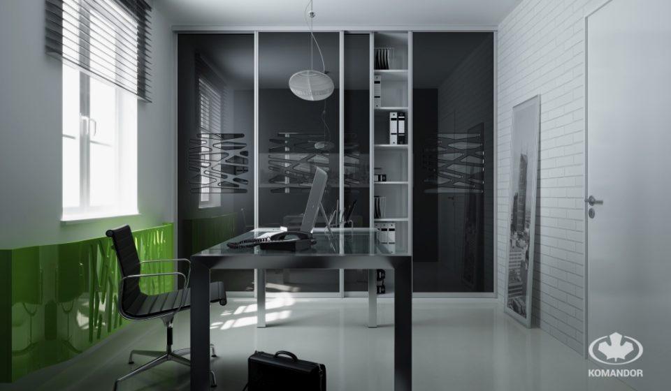 Aranżacja biura - nowoczesna szafa biurowa z drzwiami przesuwnymi