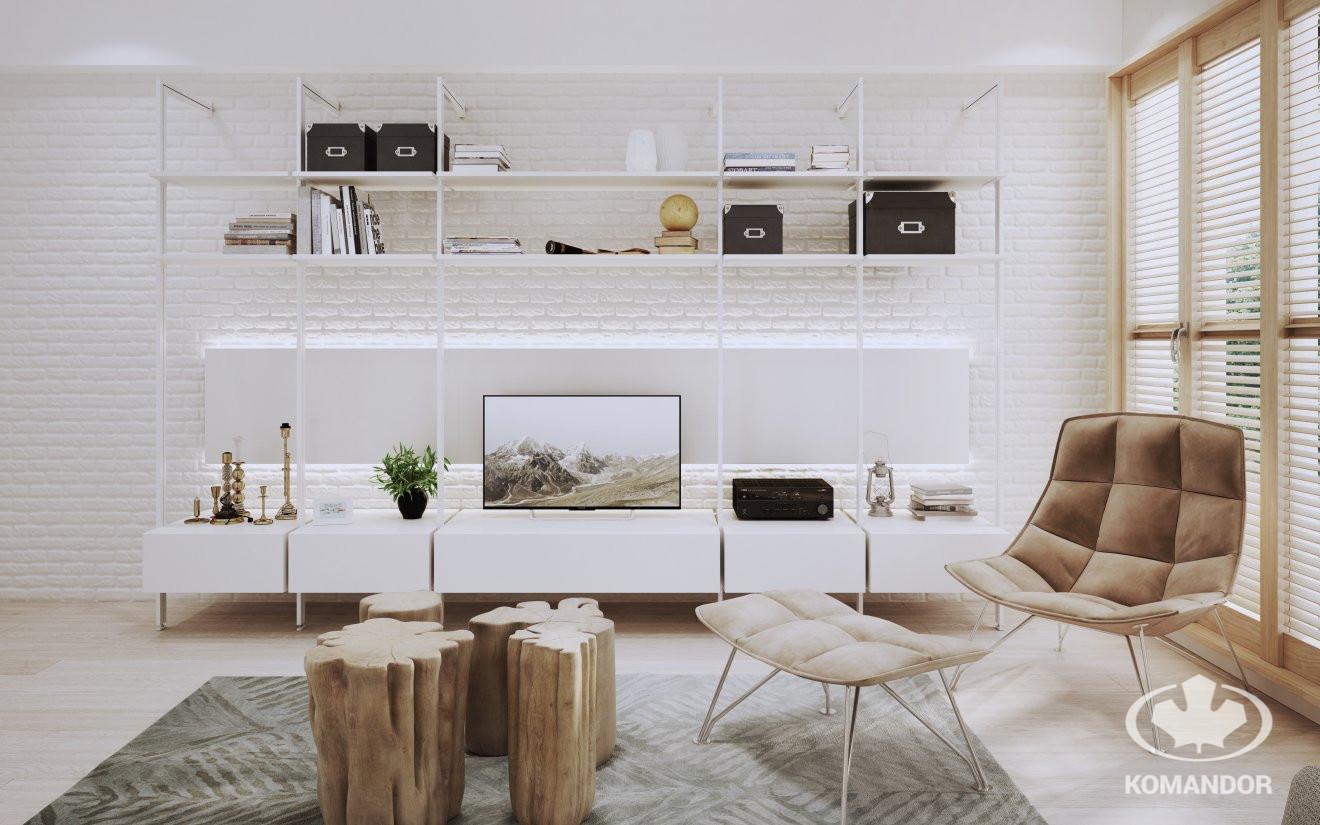 Biały system Orto w salonie