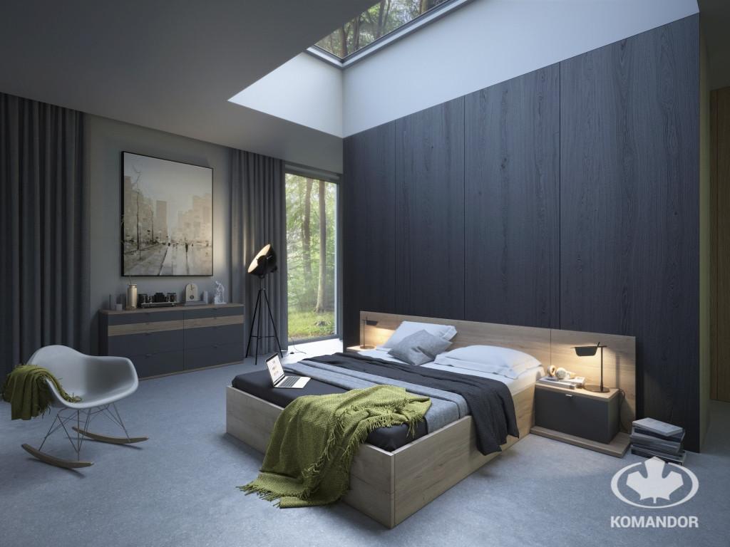 Harmonia we wnętrzu sypialni w ciemnej tonacji z meblami na wymiar Komandor