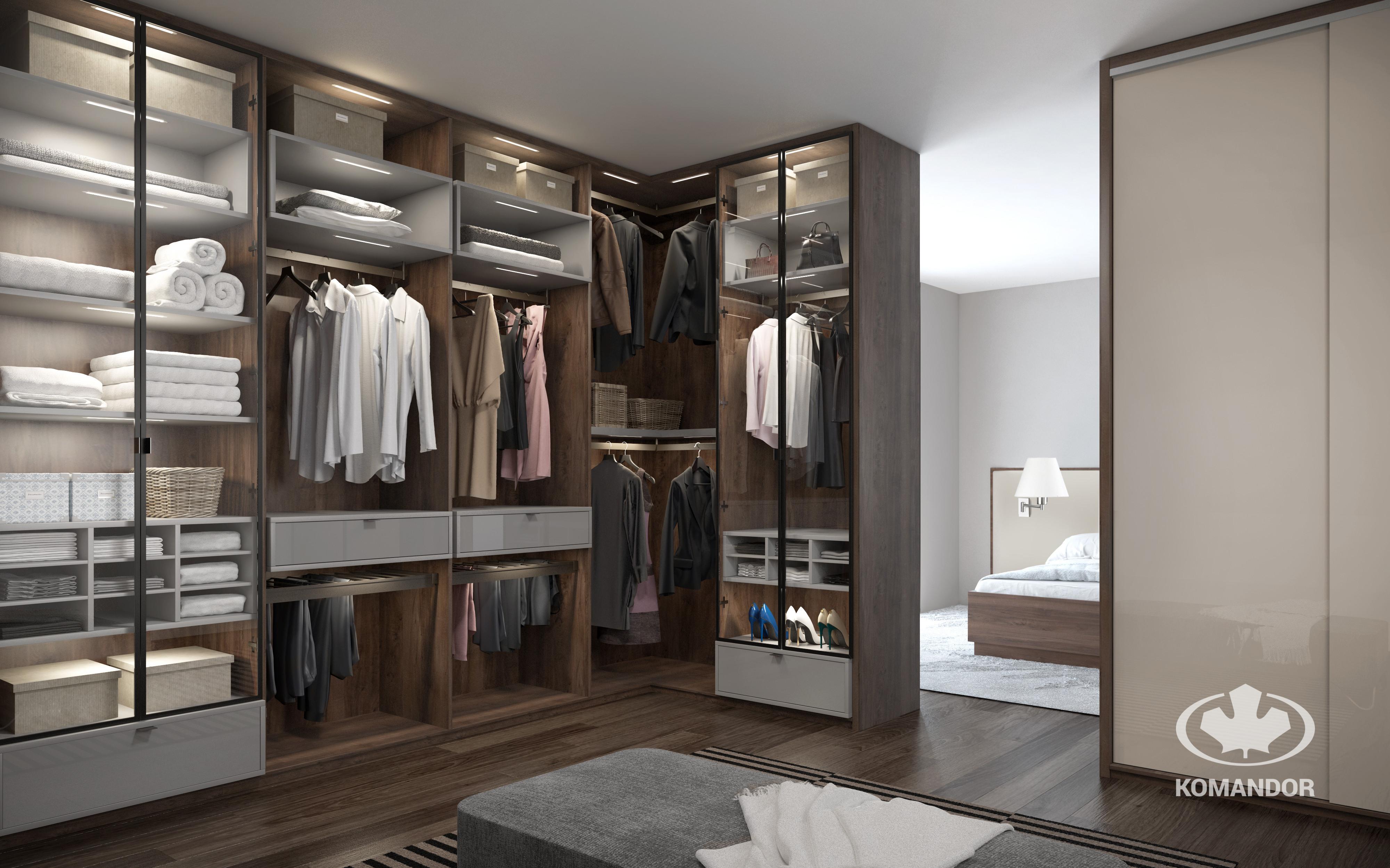garderoba z drzwiami uchylanymi z nutą czerni Komandor