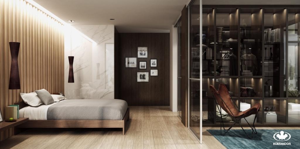 Mebel wielofunkcyjny Komandor, który łączy role: regału, garderoby i separatora pomiędzy pomieszczeniami