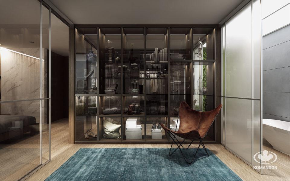 Komandor - designerski regał dwustronny, przeszklony, z drzwiami uchylnymi w ciemnych ramkach Opal.