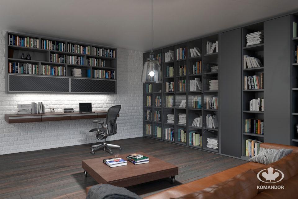 Styl nowoczesny i szklane witryny oraz drzwi uchylne Komandor w domowej bibliotece