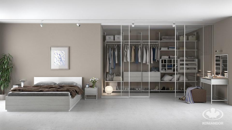 Jasna szafa z drzwiami przesuwnymi w nowoczesnej sypialni