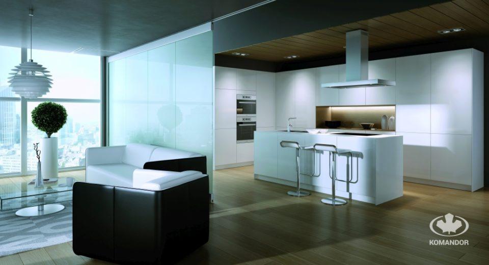 Czarno-biały salon połączony z kuchnią
